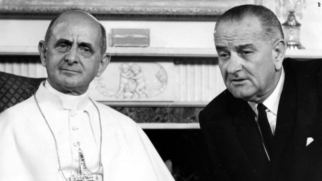 In 1965, Pope Paul VI became the first to visit the United States. He met with President Lyndon B. Johnson and addressed the United Nations in a plea for world peace.