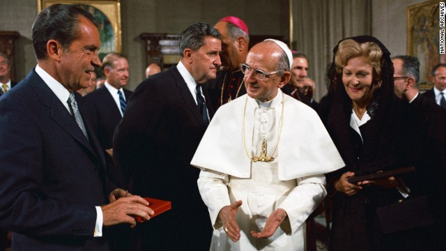President Richard Nixon meets with Pope Paul VI at the Vatican in 1970.