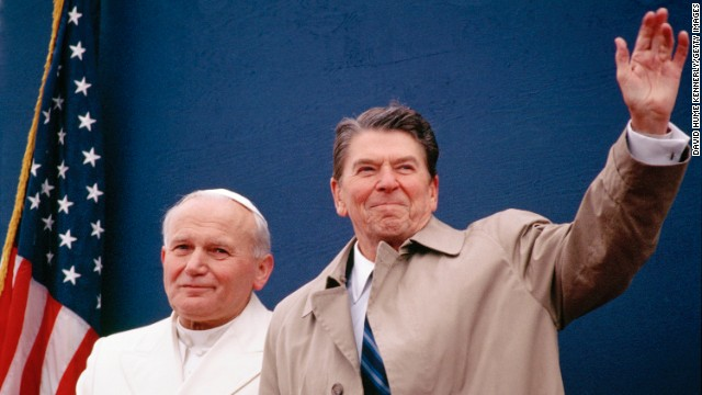 In 1984, President Ronald Reagan meets with Pope John Paul II at the airport in Fairbanks, Alaska. The Pope was making a layover on his way to South Korea, Papua New Guinea, the Solomon Islands and Thailand. Reagan was on his way home from China.