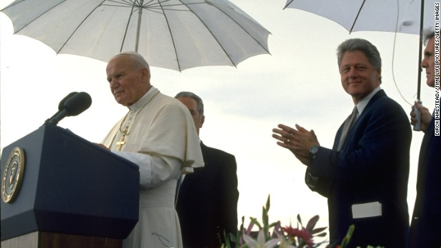 President Bill Clinton stands by as Pope John Paul II speaks at a news conference in Denver in 1993. Before attending the Catholic World Youth Day, the outspoken Pope surprised the pro-choice President during their first public meeting with stern anti-abortion remarks.