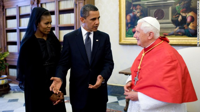 President Barack Obama and first lady Michelle Obama meet with Pope Benedict XVI at the Vatican in 2009.