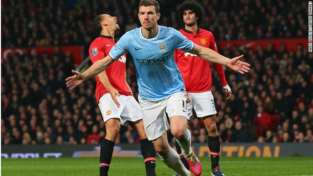 Edin Dzeko scored two goals for Manchester City at Old Trafford on Tuesday night.