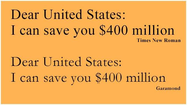 EE.UU. podría ahorrar cientos de millones de dólares… cambiando de tipografía