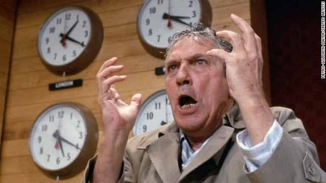 """Network"" may be the angriest movie ever made. Writer Paddy Chayefsky's satire takes no prisoners, making dark fun of the news media, television, corporations, left-wing radicals -- and a population that swallows it all without question. In the almost four decades since its release in 1976, the movie has found its way into the DNA of popular culture, through the passionate rants of anchorman Howard Beale (Peter Finch), fans who have taken its message to heart -- and, sometimes, in echoes that aren't so outlandish anymore."