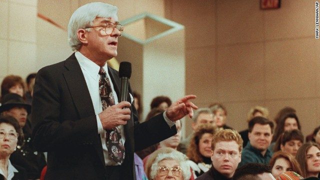 "In 1999, talk-show host Phil Donahue, whose daytime program paved the way for many to follow, told CNN's Larry King that he wanted to put <a href='http://nypost.com/1999/11/25/donahue-wants-to-show-a-live-killing/' target='_blank'>a live execution on air</a>. He believed it would ""provoke discussion,"" but given that people throughout history had gathered to watch hangings, lynchings and beheadings as entertainment, he may have found that ""death of the week,"" as William Holden calls it in the beginning of ""Network,"" was more a ratings winner."