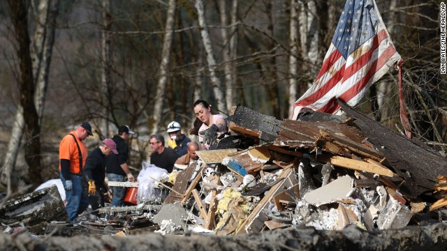 Volunteers help out with the search in Oso on March 24.