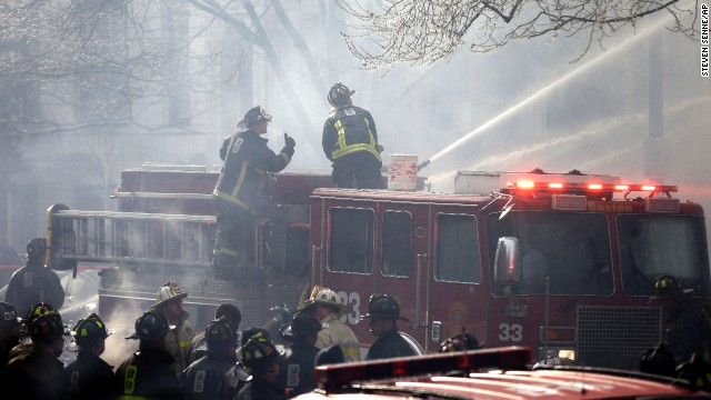 Firefighters continue to battle the blaze.
