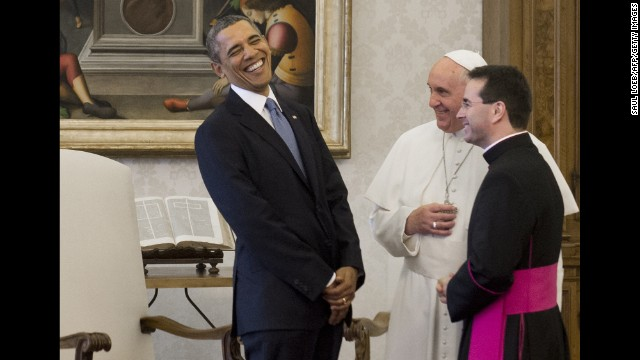 Francis speaks with U.S. President Barack Obama, who visited the Vatican on March 27.