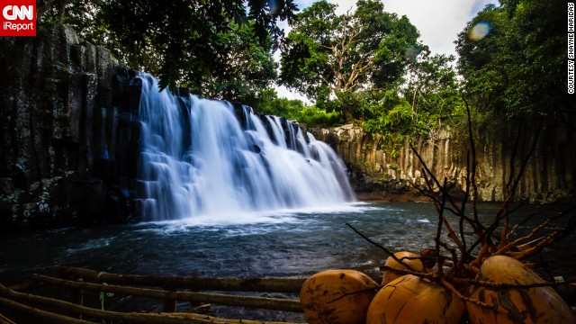 Rochester Falls on the island of Mauritius, a nation off the coast of Africa, is a beautiful and peaceful landmark.