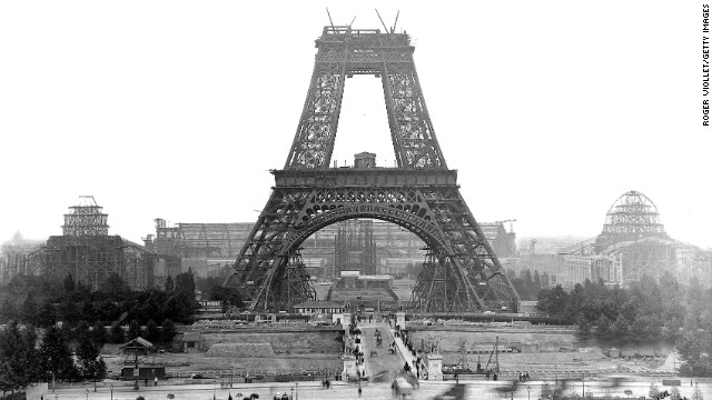 The tower, as seen during construction in 1888. There were 121 men who worked on the construction site.