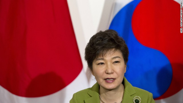 South Korean President Park Geun-hye speaks during a recent meeting with her U.S. and Japanese counterparts in The Hague.