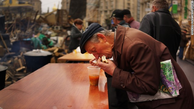 Parts of Maidan are gaining the look of semi-permanency. On any given morning activists line up at soup kitchens.