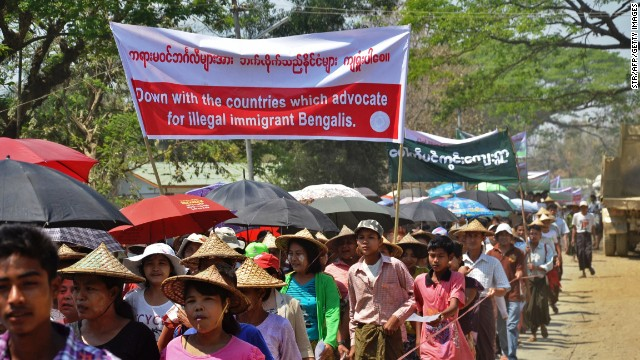 Protestors take part in a demonstration against Myanmar's forthcoming nationwide census in Rakhine on March 16.