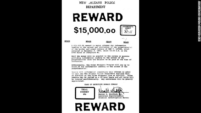 The Liuzza family and supporters offered a $15,000 reward for information leading to a conviction in the killing.