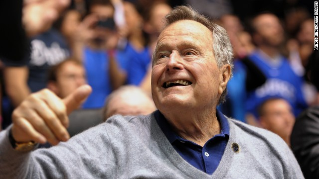 Former President George H.W. Bush attends a college basketball game between North Carolina State and Duke in Durham, North Carolina, on January 18. Bush celebrated his 90th birthday on Thursday, June 12. Click through the images to see Bush's life in pictures.