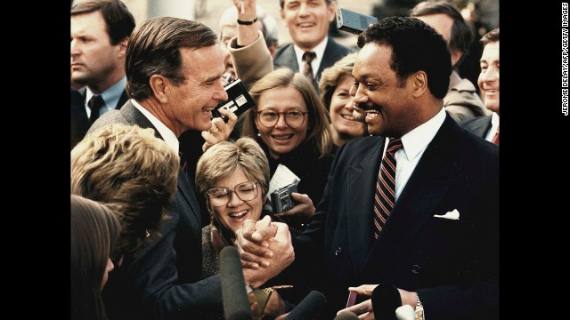 """President-elect Bush meets with civil rights leader Jesse Jackson at the White House in November 1988. He once called Jackson a """"loose cannon."""""""