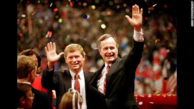 """Bush and Indiana Sen. Dan Quayle accepted the Republican Party's nominations for president and vice president in August 1988. During his speech, Bush first uttered the memorable line, """"Read my lips: No new taxes."""""""