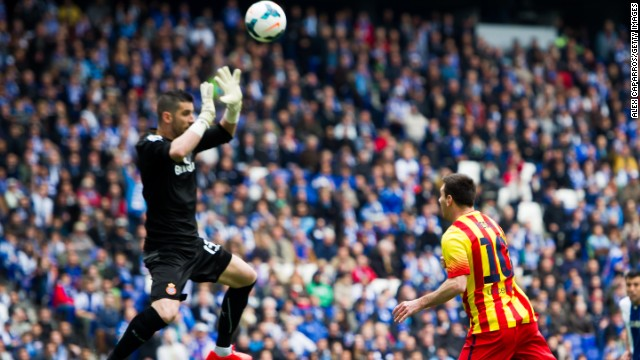 Espanyol keeper Francisco Casilla was sent off against Barcelona for handling outside the area.
