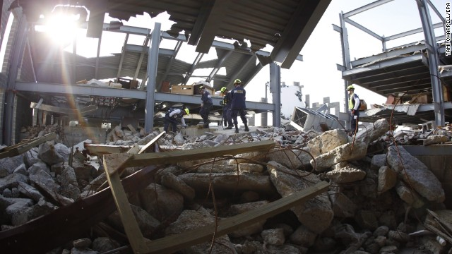 Rescue Task Force members work a mock steel building collapse during training.