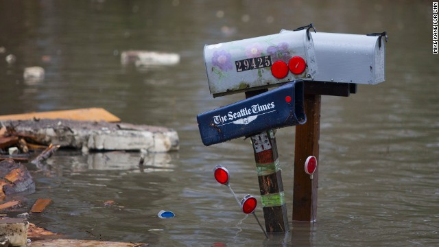 Mailboxes are seen in floodwater March 29 near Darrington.