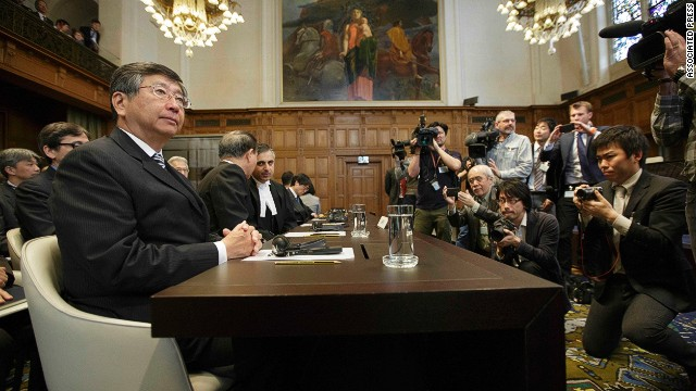 Japanese Ambassador to the Netherlands, Koji Tsuruoka, waits for the verdict in The Hague, Netherlands, on March 31, 2014.