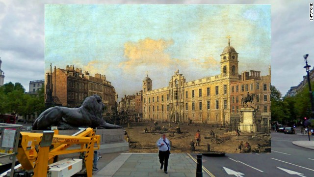 Redditor Shystone has imposed old paintings over Google Street View photographs to create a series of composite images of London then and now. This photo shows a painting of Northumberland House which stood in Trafalgar Square until 1874, by Italian artist Canaletto.