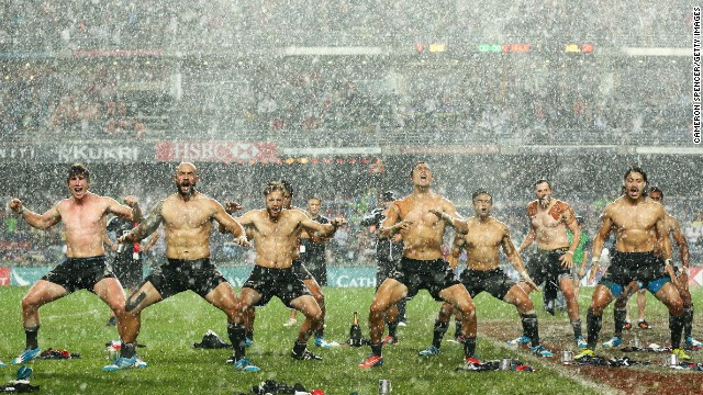 New Zealand's rugby sevens team performs the traditional Haka dance after winning the Hong Kong Sevens tournament on Sunday, March 30.