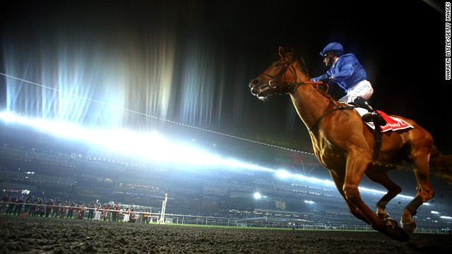 Silvestre De Sousa rides African Story to victory at the Dubai World Cup, which was held Saturday, March 29, in Dubai, United Arab Emirates.