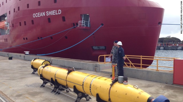 This yellow object is the Bluefin-21, an underwater drone that can scour the ocean bed, looking for signs of wreckage.