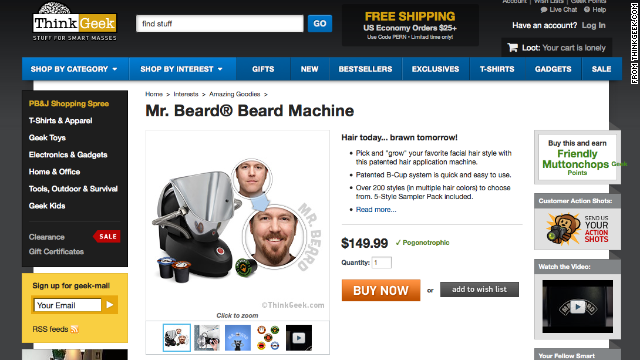 Can't grow a beard? Want to look like a lumberjack, or a hipster? The <a href='http://www.thinkgeek.com/product/1ba3/?pfm=af14_homepage_Featured_1_1ba3' target='_blank'>Mr. Beard Machine</a> can give you luxurious facial hair in 60 seconds.
