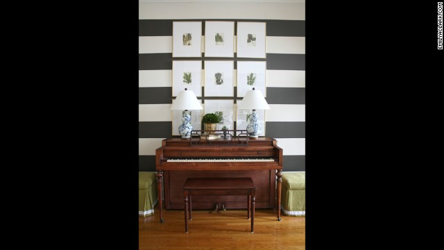 Clark's foyer boldly displays a black-and-white stripe paint treatment.