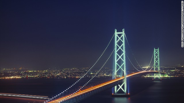 The world's longest suspension bridge, the Akashi-Kaikyo Bridge in Japan, spans the Akashi Strait that separates Kobe from Iwaya.