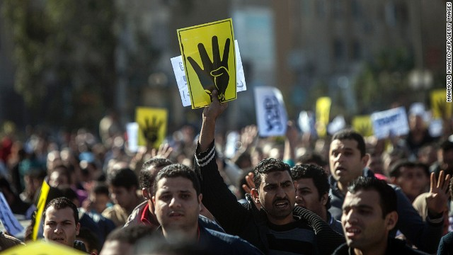 Supporters of the Muslim Brotherhood in Cairo on January 24, 2014.