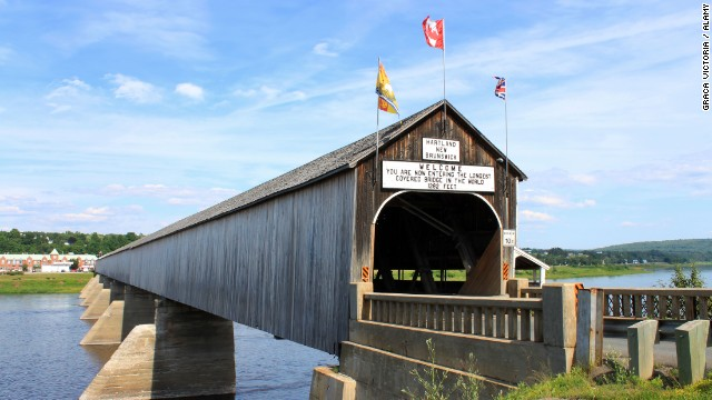 The longest covered bridge is the Hartland Bridge in New Brunswick, Canada, a National Historic Site of Canada.
