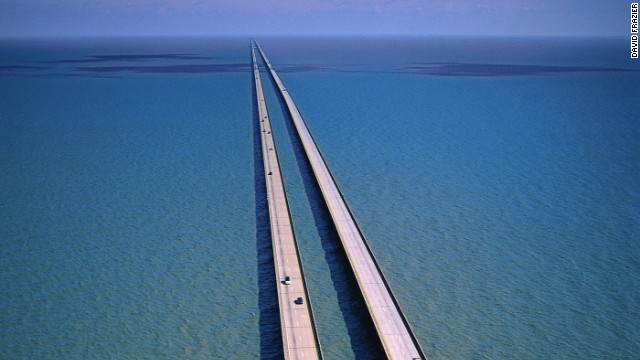 The longest continuous bridge over water, the Lake Pontchartrain Causeway in Louisiana, runs 23.79 miles over open water.