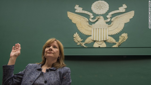 General Motors CEO Mary Barra is sworn in before the House Energy and Commerce Committee on Tuesday, April 1, in Washington. Barra <a href='http://money.cnn.com/2014/04/01/news/companies/barra-congress-testimony/'>apologized</a> for the 13 deaths that GM says were caused by a faulty ignition switch, and she apologized for GM's 10-year delay in issuing a recall.