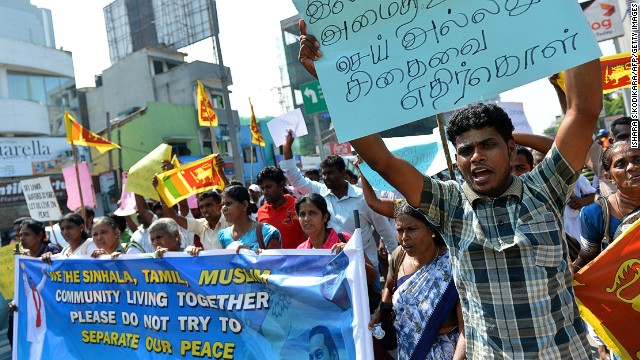 Sri Lankan pro-government protesters demonstrate outside the U.S. embassy in Colombo last month against the U.N. resolution.