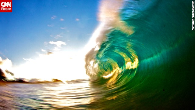"Croman shot this wave on Sandy Beach in Oahu using a slow shutter speed with a flash. This technique, he says, is very difficult because the photos usually come out blurry. ""But this photo actually made me dedicate the rest of the summer to perfecting this type of style."""