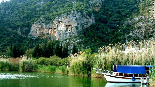 Rock tombs built by Lycians -- people who lived in the region 2,500 years ago -- loom over the the Dalyan waterways.
