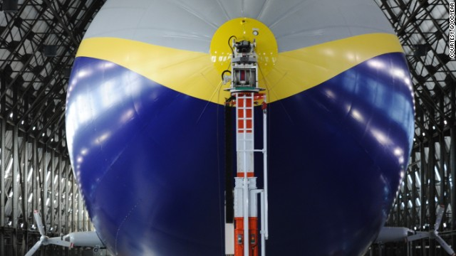Keeping tabs on your blimp is easy if you have a mast to attach it to. This mast inside the Goodyear hangar has the Zeppelin's nose cone in its clutches.
