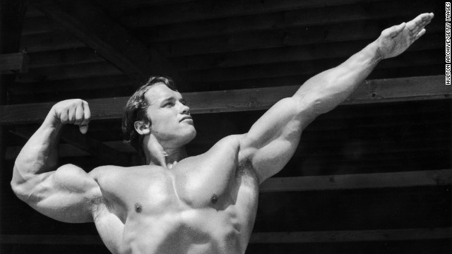 "Before he was a movie star -- and before he was a governor -- Arnold Schwarzenegger was a champion bodybuilder, seen here in 1966. His body helped him get films such as ""Conan the Barbarian,"" but his head for clever roles (remember ""Twins""?) helped him become a star."