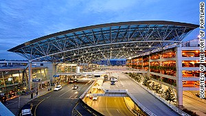 Portland International Airport. Eclectic town, solid airport.