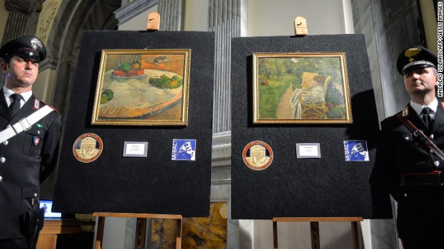 Italy's Culture Ministry unveils two paintings by the French artists Paul Gauguin and Pierre Bonnard on Tuesday, April 2. The paintings, worth millions of euros, were stolen from a family house in London in 1970, abandoned on a train and then later sold at a lost-property auction, where a factory worker paid 45,000 Italian lire for them -- roughly equivalent to 22 euros ($30).