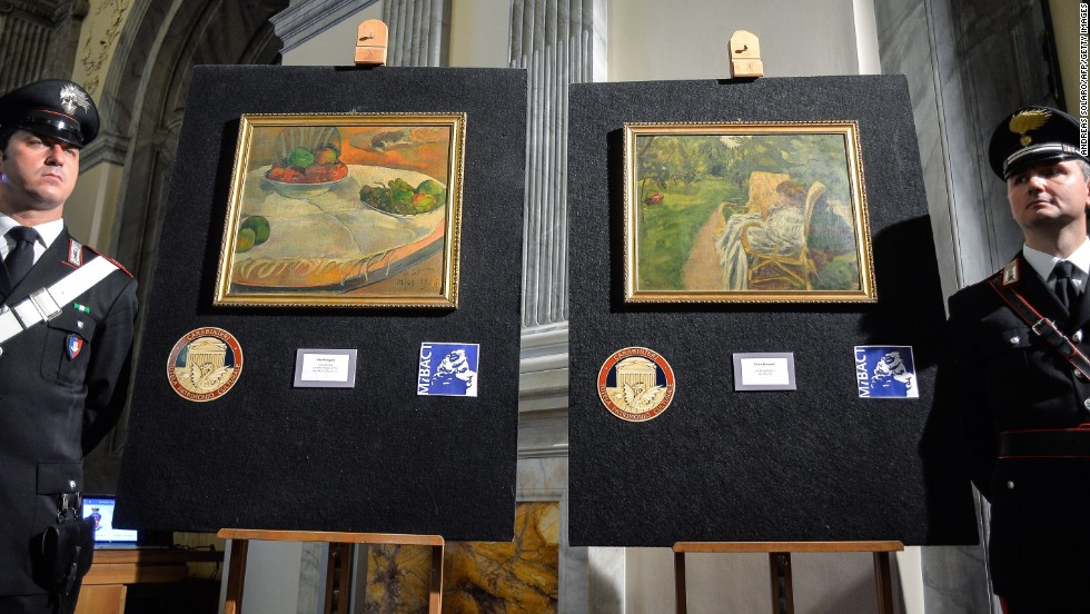 Italy's Culture Ministry unveils two paintings by the French artists Paul Gauguin and Pierre Bonnard on Tuesday, April 2. The paintings, <a href='http://www.cnn.com/2014/04/02/world/europe/italy-paintings-recovered/index.html'>worth millions of euros</a>, were stolen from a family house in London in 1970, abandoned on a train and then later sold at a lost-property auction, where a factory worker paid 45,000 Italian lire for them -- roughly equivalent to 22 euros ($30).