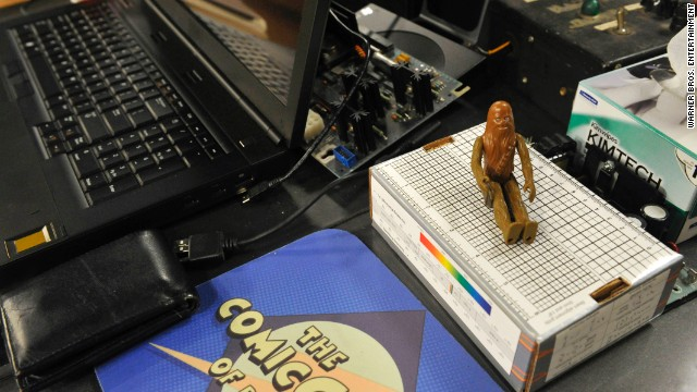 "An original Chewbacca action figure from the first ""Star Wars"" collection is among the many representations of ""Star Wars"" on the apartment set. Johnny Galecki, who plays Leonard Hofstadter on the show, fondly recalls collecting ""Star Wars"" figures as a child so he loves things like this."