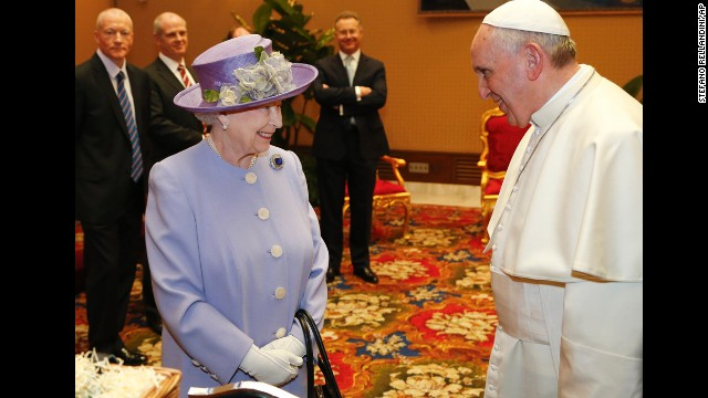 The Queen talks with Pope Francis at the Vatican. The Queen was originally due to travel to Italy last year, but the visit was postponed because of illness.