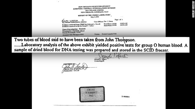 "Thompson had been treated years ago for an injury at a local hospital. Abolafia begged someone she knew there to help her. ""I said, 'three weeks from now this man's going to be executed. It's a matter of life and death. Please dig it up for me.' And she did."" The hospital report proved Thompson has type O blood — different from the blood type of the carjacker. It was the carjacking conviction that led to Thompson receiving the death penalty. The blood type evidence blew the case wide open, and saved Thompson from being executed."