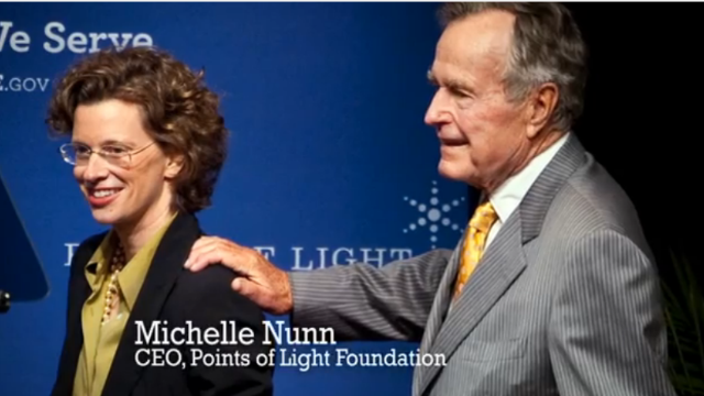 Democrat Nunn highlights Bush 41 in first ad