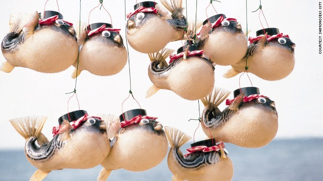 A row of puffer fish lanterns, made with actual fugu skins, hangs from a stall in Shimonoseki.