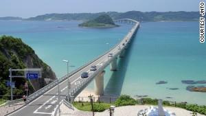 Shimonoseki\'s 1,780-meter-long Tsunoshima Bridge connects the island of Tsunoshima with Honshu.